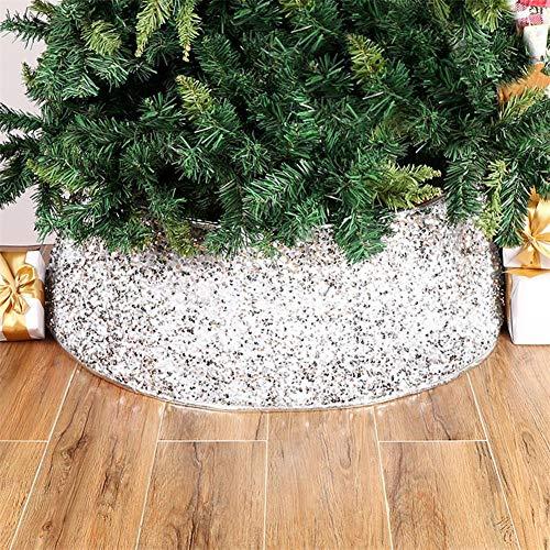 Corwar Weihnachtsbaum Rock, rutschfeste Pailletten Weihnachtsbaum Matte Pad, für Weihnachtsfeiertag liefert große Baum Matte Dekor Ornamente, Silber Weiß, Silber Grau und Rot Pailletten