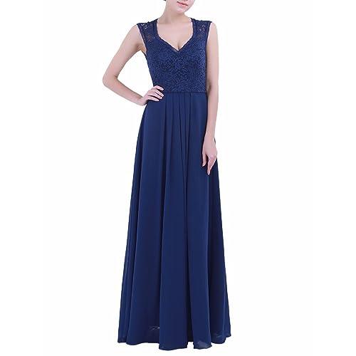 22c8c31a879 Freebily Womens Lace V Neck Chiffon Sleeveless Maxi Bridesmaid Evening  Party Prom Long Dress