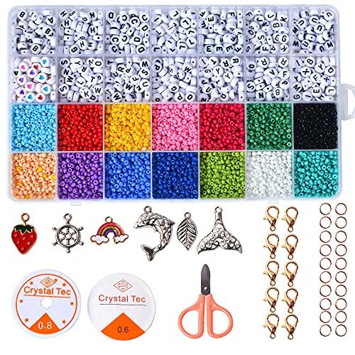 TOOLBOX Glasperlen Set Perlen Zum Auffädeln Mini Glasperlen mit Buchstabenperlen Rund Alphabet Spacer Perlen Schmuck Perlen Zum Basteln, 3mm