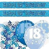 Unico bpwfa-4148Glitz 18th Birthday foil banner party Decoration kit, blu