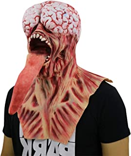 Ugly Monster with Long Tongue Halloween Creepy Mask Haunted House Prop Scary Zombie Face Trick Cosplay Fun Game Red