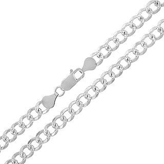 سلسلة من الفضة الإسترلينية الصلبة الأصلية كوبية كابح متصلة بالالماس عيار .925 من ITProLux 2 مم - 10.5 مم، 40.64 سم - 76.2 ...