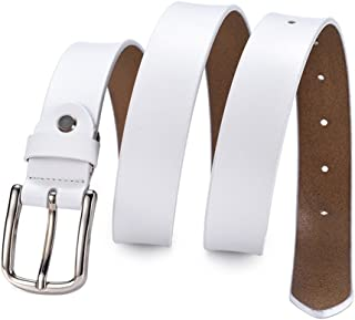 Women's Belt Leather Belt Solid Color Pin Buckle Simple Mother's Day Gifts (Color : White)