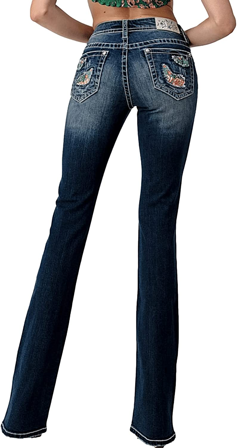 Grace in LA Mid Rise Easy Bootcut Distressed Desert Cactus Flower Rhinestone Embroidered Stretch Jeans