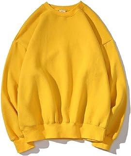 WUFAN Men Casual Solid-Colored Fleece Athletic Pullover Baggy Sweatshirt
