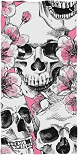 Naanle Day of The Dead Skull Pink Cherry Blossom Flower Dia De Los Muertos Art Floral Print Soft Bath Towel Absorbent Hand Towels Multipurpose for Bathroom Hotel Gym and Spa 30