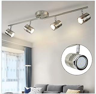 Depuley Plafonnier LED 4 Spots sur Rail, Orientable Projecteur de Plafond GU10, Applicable pour Chambre, Salon, Cuisine, S...