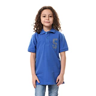 Andora Ribbed-Trims Short Sleeves Cotton Polo Shirt for Boys - Blue, 16 Years