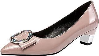 [JYshoes] パンプスレザーローヒール スクエアヒール太いヒールポインテッドトゥ低めヒール 2019 春夏秋 シンプルオフィス 仕事 冠婚葬祭 大きいサイズ 靴