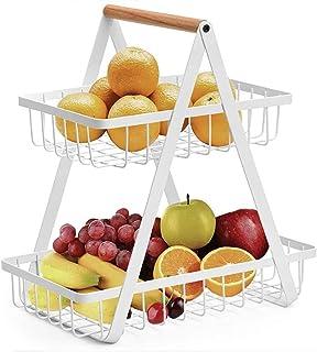 JUNYFFF Corbeille A Fruits 2 Etages - Panier A Fruits A Etages en Métal Décoration Plan De Travail Support De Légumes pour...