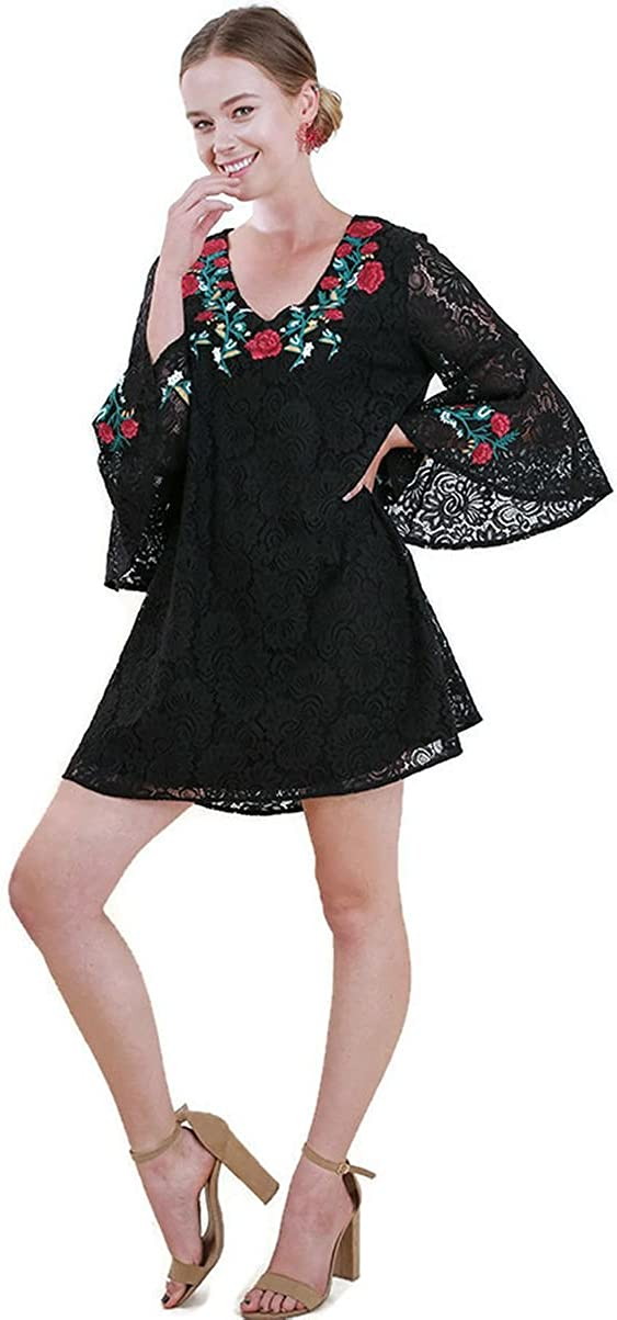 Umgee Women's Floral Embroidered Lace Bell Sleeve Dress