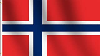 rhungift Norway Flag3x5 Ft,Canvas Header and Double Stitched - Brass Grommets for Easy Display,Vivid Color and UV Fade Resistant Norwegian Nordmann National Flag 3`x5`