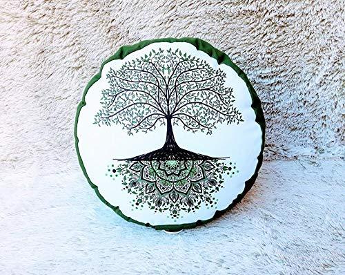 Zafú, cojín de meditación en Tonos Verdes y Blancos con Mandala árbol de la Vida Verde diseñado por floresyabejas