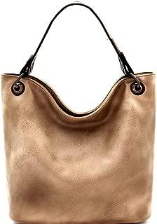 Vintage Brushed Texture Vegan Leather 2 Tone Rustic Medium Single Strap Hobo Bag