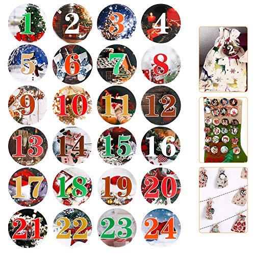 Wokkol Calendario de Adviento, 24 Botones de Calendario de Adviento Números, Pin Numerada (1–24) sí Manualidades de DIY de Navidad de Calendarios y para Decorar