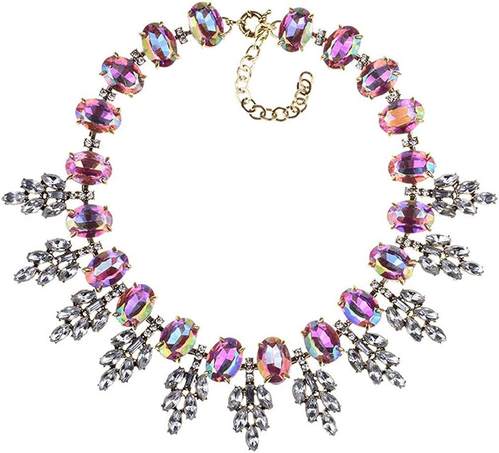 YAZILIND Retro Gemstone Chain Necklace Color Rhinestone Collar Exaggerated Jewelry Women Valentines Gift
