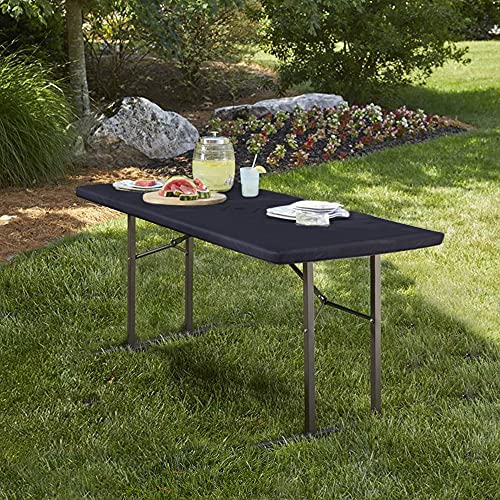 LUSHIVIDA Elastic Stretch Picnic Table Cover Waterproof Elastic Table Cover Vinyl Fitted Flannel Backing Tablecloth for 24' 48' for Outdoor Picnics/Travel/Holiday/Party/Folding Table Grey