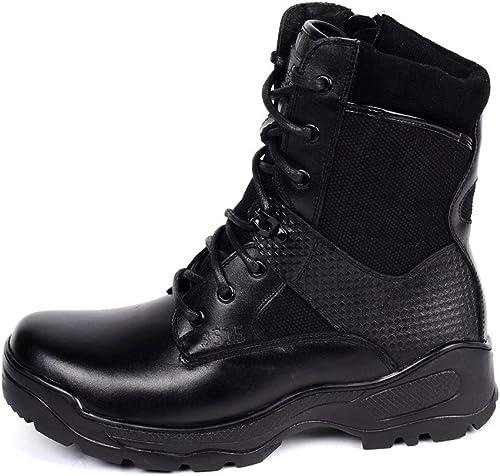 ZHRUI botas Militares de Gran tamaño para los hombres botas de Invierno cómodas de Cuero Genuino Transpirable (Color   negro, tamaño   EU 39)