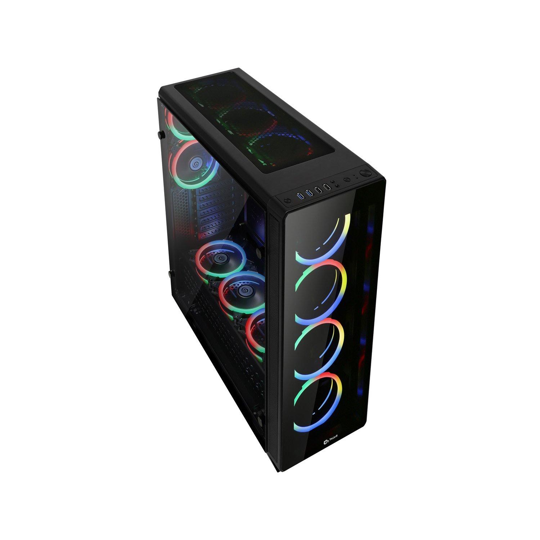 Talius Caja ATX Gaming Leviathan Spectrum- Frontal y Lateral de Cristal Templado - 2X USB 3.0-2X USB 2.0 - Sin Fuente - Negra: Amazon.es: Informática