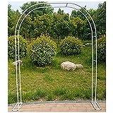 LODJ Hierro jardín Arco Enrejado jardín cenador pérgola con Soporte para Planta trepadora al Aire Libre Boda Fiesta vides Verduras-Blanco_1.2mX2.2m