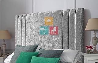 H-Cube meble pionowe boczne wyściełane tapicerowane łóżko łóżko łóżko zagłówek zgnieciony aksamit montaż na ścianie (srebr...