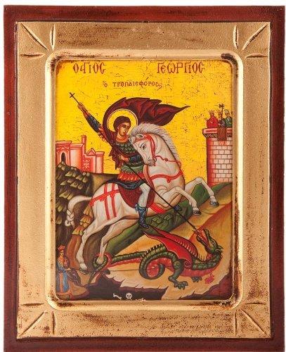Pictogram. Hout Religieus 19 cm x 24 cm. St George Griekse patroonheilige. Saint George patroonheilige van Engeland. Afbeelding van Sint-Joris en de Draak