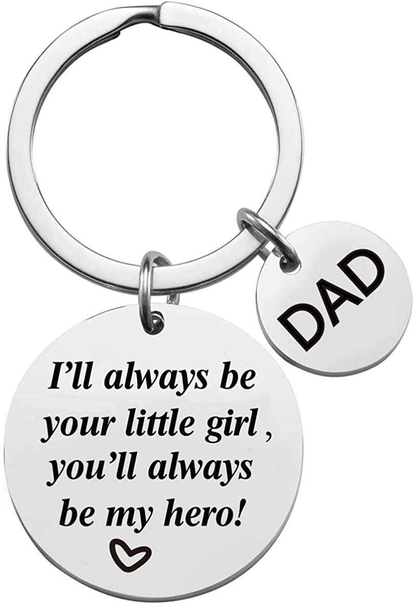 AMRIU Father's Day Keychain - Dad Gift from Daughter for Birthday,Best Dad Ever Keychain, Stainless Steel Key Chain, Gifts for Dad Grandpa Fathers Day Birthday Christmas Day from Daughter