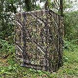 Auscamotek Ground Blind 5 × 10 Feet for Turkey Hunting Deer Blinds Camouflage Pattern Height Adjustable -Woodland Green Leaf