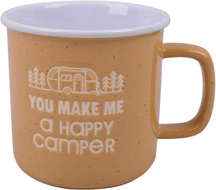 CafeQuality Stoneware Adventure 18oz Mug You Make Me A Happy Camper Yellow