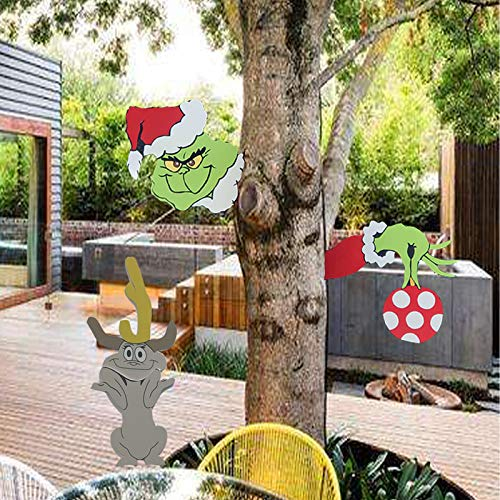 HAO Grinch and Max Dog Stealing Christmas Yard Art, Novelty Left Facing Green Mosnter Funny Lawn Decoration for Christmas Garden, Indoor&Outdoor,Christmas Tree Decoration?