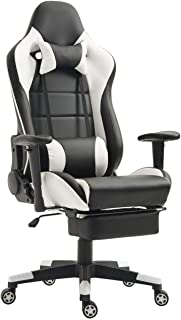 Gaming Chair Computer Gaming Chairs Racing Video Game Ergonomic Office Chairs Recliner Swivel Rocker with Neckrest and Lumbar Pillow E-Sports Chair (White/Black with Footrest)