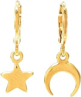 Arracadas Estrella y Luna - Chapa de Oro Calidad Premium - Elegantia Jewelry