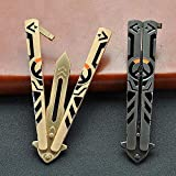 Butterfly Knife Trainer, Practice Steel Metal Folding Knife Unsharpened Blade, 2 Pack, Black + Golden