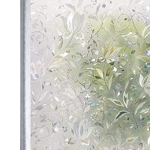 Homein Fensterfolie Selbsthaftend Sichtschutzfolie Folie für Fenster Blickdicht Milchglasfolie Fensterbilder Sichtschutz Glasfolie Selbstklebende Klebefolie Glastür 3D Motiv Bunt Blumen 90 x 200 cm