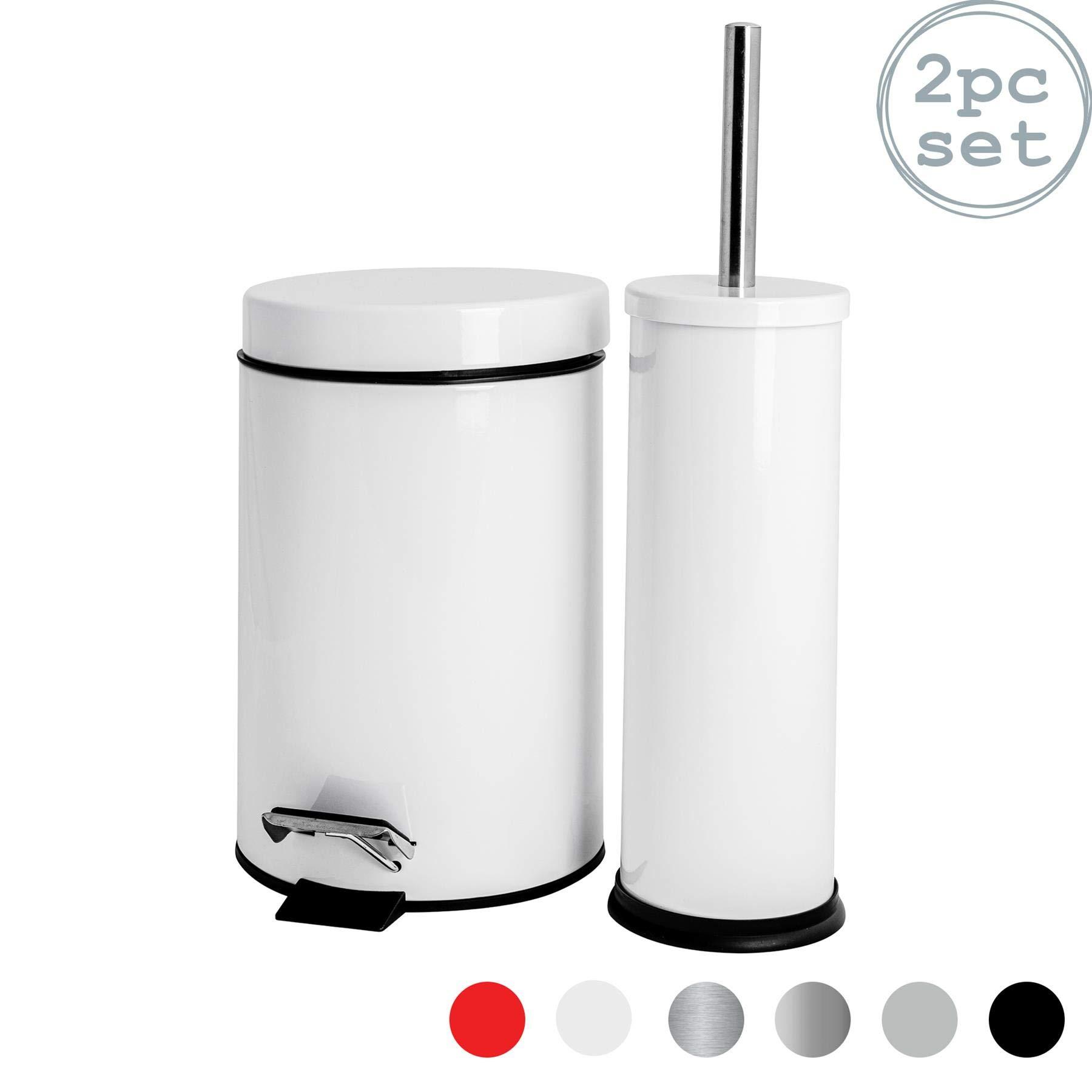 Badezimmer-Set mit Treteimer & Toilettenbürste - Eimer mit 9 Liter Volumen  - Weiß