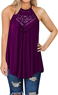 bc0f2a2f628 MIHOLL Womens Summer Casual Sleeveless Tops Lace Flowy Loose Shirts Tank  Tops