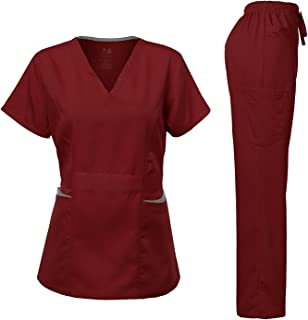 Dagacci Medical Uniform Women's Scrubs Set Stretch Ultra Soft Contrast Pocket