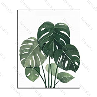Renaiss 16x20 Inches Plante Scenery Oil Painting Green Palm Leaves Art Canvas Picture Prints Cafe Hotel Office European Style Home Wall Decor Artworks Unframed Poster Rolled Package