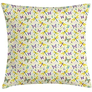 Butterfly Throw Pillow Cushion Cover, 3D Illustration of Colorful Winged Flying Swallowtails Papillions and Dragonflies, Decorative Square Accent Pillow Case, 18 X 18 Inches, Multicolor 45cm