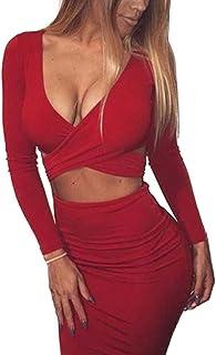 58aba666c0aed Memorose Womens Sexy Long Sleeve Cut-Out Bandage Bodycon Clubwear Midi Dress