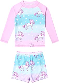 Jxstar Girls Rash Guard Swimwear Kids Long Sleeve Mermaid Swimsuits UPF 50+ UV