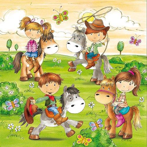 20 servetten van gerespecteerde paardenhof/kinder/verjaardag/meisje/jongen/paarden 33 x 33 cm