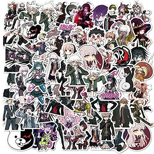 50pcs / Pack Danganronpa Trigger Happy Havoc Pegatinas de Anime japonés para el Casco del Coche del refrigerador Caja de Regalo de Bricolaje Bicicleta Guitarra - random10pcs