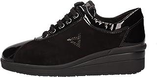 Valleverde Scarpe Donna Sneakers in camoscio e Pelle Nera 36204-BLACK