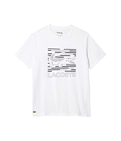 Lacoste Short Sleeve Graphic Cotton Tee (White/Navy Blue) Men