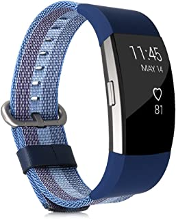 kwmobile Bracelet for Fitbit Charge 2 - Nylon Watch Band Fitness Wristband in Blue