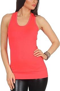 Jela London Women's Basic Long-Top Tank Top Stretch Plain Sleeveless Shirt Racerback (One Size UK 32 34 36)