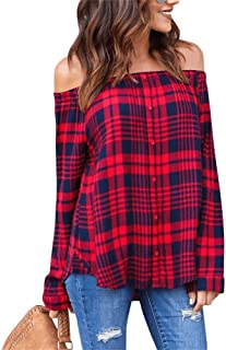 NRTHYE Women Fashion Off Shoulder Long Sleeve Button Plaid Loose Shirt Blouse Tops