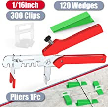 """YEFU Tile Leveling System 1/16"""" Kit Include 300 pcs Tile Spacers Clips and 120 pcs.."""