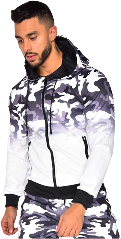 7789 Mens Tie Dye Camouflage Hooded Sweatshirt with Zipper Pockets Long Sleeve Zip Up Hoodie Jacket for Men